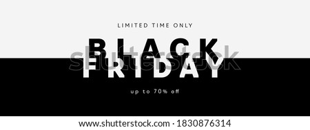 Black Friday Sale banner. Modern minimal design with black and white typography. Template for promotion, advertising, web, social and fashion ads. Vector illustration. #1830876314