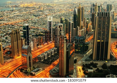UAE, United Arab Emirates: Downtown of Dubai at night. View from Burj Khalifa, the tallest building in the world. Downtown Dubai is a large mixed-use complex, important part of development in Dubai.