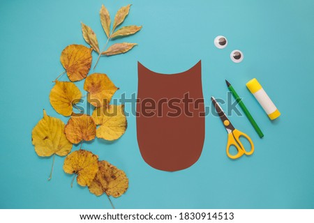"dry leaves applique art autumn. little child making autumn decoration ""Owl"" from leaves. Children's art project. DIY concept. Step-by-step photo instruction. Step 2"