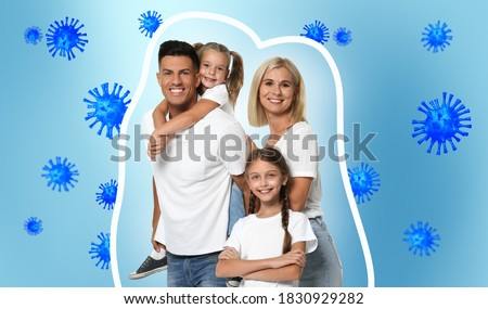 Strong immunity - healthy family. Happy parents with children protected from viruses and bacteria, illustration Royalty-Free Stock Photo #1830929282