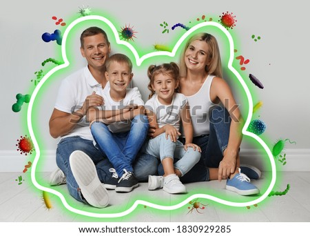 Strong immunity - healthy family. Happy parents with children protected from viruses and bacteria, illustration #1830929285