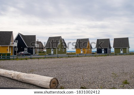 View of cute colorful cottages in Carleton-sur-mer, Canada Royalty-Free Stock Photo #1831002412