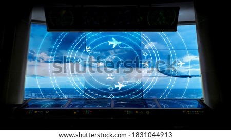 Simulation screen showing various flights for transportation and passengers. Royalty-Free Stock Photo #1831044913