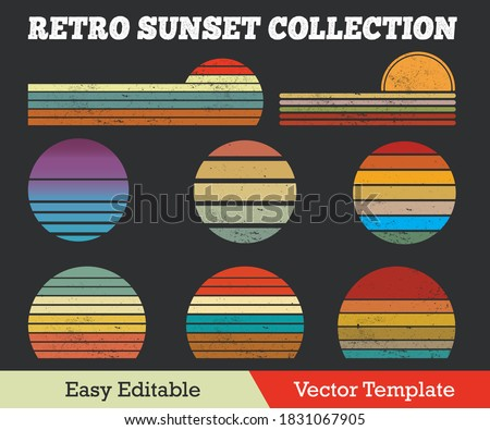Retro Sunset Collection Grunge Effect Vector Template. Royalty-Free Stock Photo #1831067905