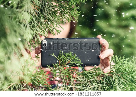 A paparazzi girl hand with a black mobile phone camera taking picture hiding through green fir tree branches at winter snowfall. Concept