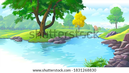 Fresh river water flowing across a green landscape. Trees and forest surrounding the river bed. Royalty-Free Stock Photo #1831268830