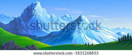 Crusty ice surface of the mountains with beautiful meadows and ranges of hills Royalty-Free Stock Photo #1831268833
