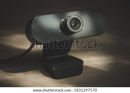 External webcam with high definition resolution for a desktop monitor Royalty-Free Stock Photo #1831297570