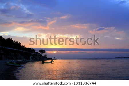 Photo of a beautiful sea landscape at sunset. Photos for the site or tourism vacation at sea.