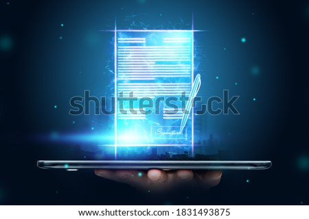 Male hand and modern smartphone hologram contract. Concept for electronic signature, business, remote collaboration, copy space. Mixed media