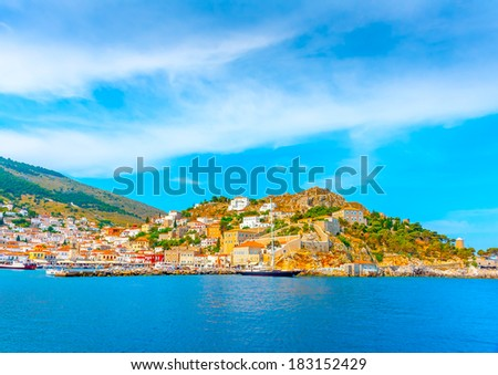 The beautiful old main port of Hydra island in Greece #183152429