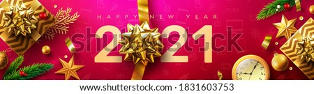 2021 Happy New Year Promotion Poster or banner with golden gift box and christmas decoration elements.Change or open to new year 2020 concept.Promotion and shopping template for New Year.Vector EPS10 #1831603753