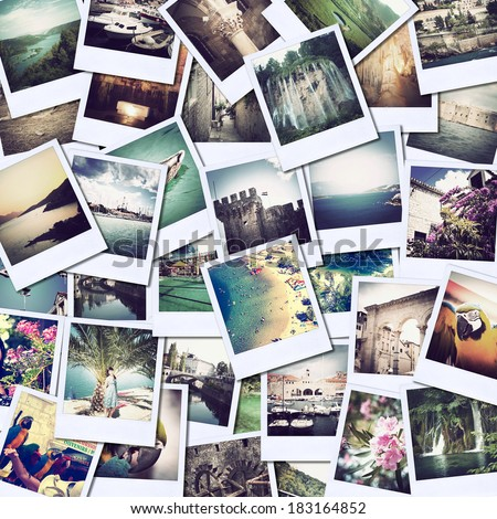 mosaic with pictures of different places and landscapes, snapshots uploaded to social networking services