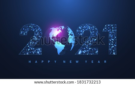 Modern futuristic technology template for Merry Christmas and Happy New Year 2021 with connected lines and dots. Plexus geometric effect. Global network connection. Vector illustration #1831732213