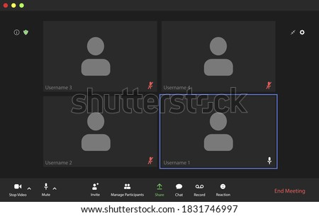 Video conference user interface, video conference calls window overlay #1831746997
