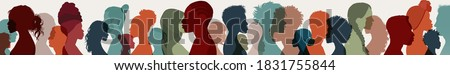 Group side silhouette men and women different culture and different countries. Diversity of many multi-ethnic people. Coexistence and multicultural community integration. Crowd of people Royalty-Free Stock Photo #1831755844