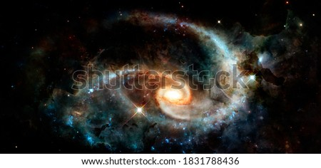 Spiral galaxy. Deep cosmos. Outer space. Elements of this image furnished by NASA. Royalty-Free Stock Photo #1831788436
