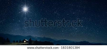 The star shines over the manger of christmas of Jesus Christ. Royalty-Free Stock Photo #1831801384