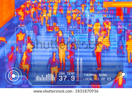 international passengers infrared thermal heat scan imaging camera sensor at airport seeking high body temperature checking system detection corona virus covid-19 infection disease, group of people  Royalty-Free Stock Photo #1831870936