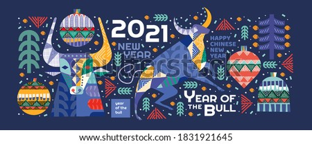 2021. Year of the bull. Vector abstract illustrations for the new year for poster, background or card. Geometric drawings for the year of the bull according to the Eastern Chinese calendar.  #1831921645