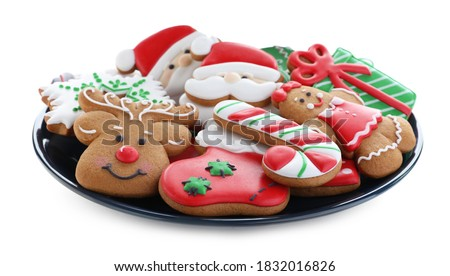 Delicious gingerbread Christmas cookies on white background #1832016826