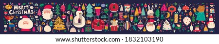 Big Christmas collection with traditional Christmas symbols and decorative elements. Christmas holiday pattern #1832103190