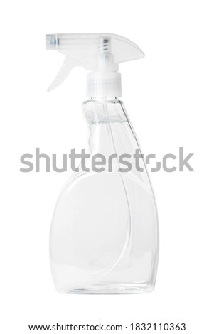 Isolated side view of the clear spray bottle with a clear liquid inside with clipping path. Royalty-Free Stock Photo #1832110363