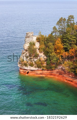 Miners Castle point in Pictured lakes national lake shore in Michigan upper peninsula