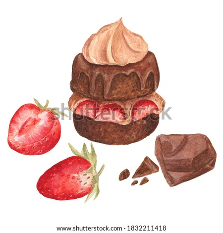 Watercolor illustration of chocolate biscuit with cream and strawberry on a white isolated background. Cute and sweet composition of elements.