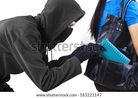 Thief stealing a wallet from handbag of a woman. isolated on white background #183221147