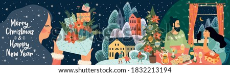 Set of Christmas and Happy New Year illustrations. Trendy retro style. Vector design banner. Royalty-Free Stock Photo #1832213194