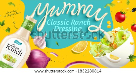 Salad dressing ad with fresh vegetable and splashing sauce in 3d illustration #1832280814