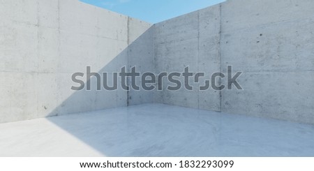 Panorama view of outdoor industry style concrete wall and floor