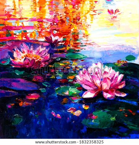 Oil Painting of lilies in the water. Modern art. Royalty-Free Stock Photo #1832358325
