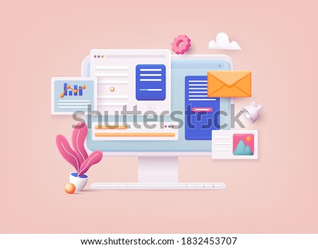 3D Web Vector Illustrations. Computer with open pages. Landing page template for web. Royalty-Free Stock Photo #1832453707