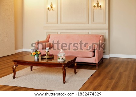 Stylish minimalistic interior light living room with designer pink sofa, coffee table and elegant accessories. Amazing background image of home environment. Real photo. Copy space, text place