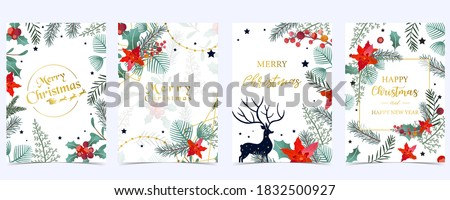 Collection of Christmas background set with holly leaves,flower,reindeer.Editable vector illustration for New year invitation,postcard and website banner Royalty-Free Stock Photo #1832500927