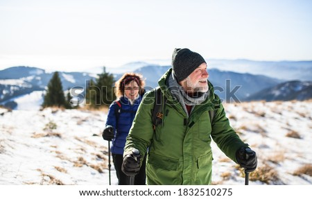 Senior couple with nordic walking poles hiking in snow-covered winter nature. #1832510275