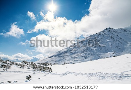 View of snow-covered hills in High Tatras in Slovakia. #1832513179