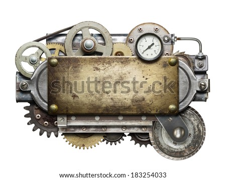 Stylized metal collage of mechanical device.  Royalty-Free Stock Photo #183254033