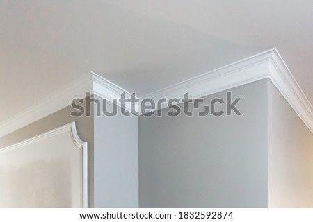 Detail of corner ceiling with intricate crown molding.  Royalty-Free Stock Photo #1832592874