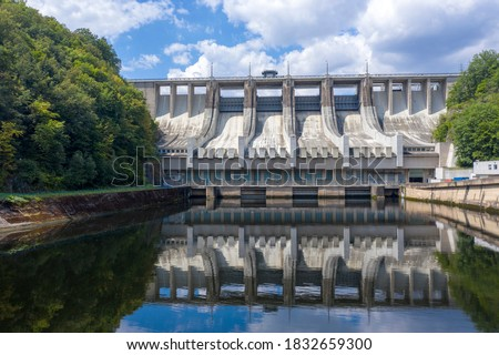 High hydroelectric power plant Slapy in the Czech Republic. Renewable energy source on the Vltava river. Large concrete dam. Photo taken with a profesional drone