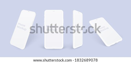 Realistic phone mockup, clay mobile set concept with shadow isolated. White smartphones in different angles view with blank screen, 3d vector illustration mocku up for app design presentation.