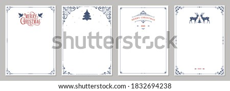 Ornate Merry Christmas greeting cards. Universal trendy business and corporate Winter Holidays art templates. Vector backgrounds. Royalty-Free Stock Photo #1832694238
