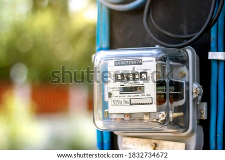 Electricity meters for home electrical appliances, including blurred natural green backgrounds, electric power usage concepts, and electricity usage audits.