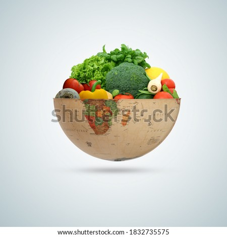 world vegetable day, vegetable on the world, fresh vegetable, vegan day, world food day, world vagetarian day Royalty-Free Stock Photo #1832735575