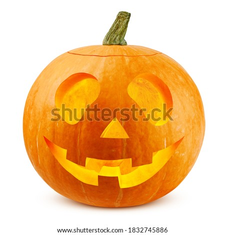 Halloween pumpkin isolated on white background, clipping path, full depth of field Royalty-Free Stock Photo #1832745886