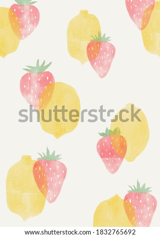 Strawberry and lemon fresh fruit hand drawn style background illustration.