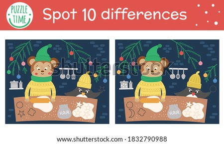 Christmas find differences game for children. Winter educational activity with funny animals backing cookies. Printable worksheet with smiling characters. Cute New Year puzzle for kids  Royalty-Free Stock Photo #1832790988