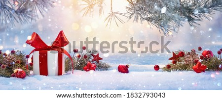 Christmas Holiday Background With Gift And Decorations On A Sunny Background #1832793043